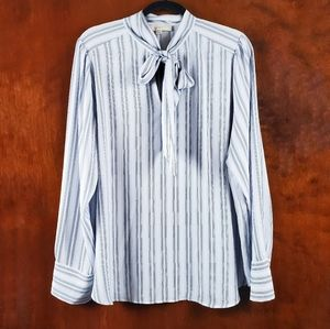 LOFT Blue Stripe Tie Neck Blouse XL